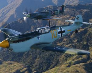 Buchon ME-109 alongside a Spitfire from Warbirds Over Wanaka 2016.