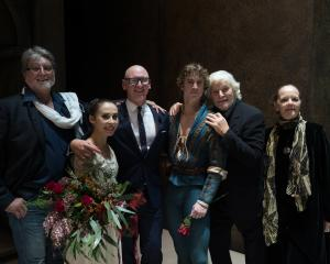 Frederic Jahn with (from left) Madeleine Graham (Juliet), choreographer Francesco Ventriglia, Joseph Skelton (Romeo), dramaturg Mario Mattia Giorgetti and choreographic assistant Gillian Whittingham after opening night in Wellington. Photo: RNZB