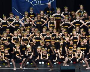 Mornington School concludes its kapa haka performance with a pukana.
