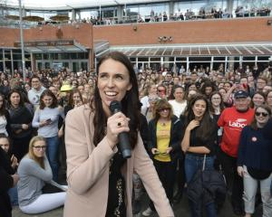 Labour leader Jacinda Ardern speaks to a crowd outside the University of Otago Student Union. Photo: Gerard O'Brien