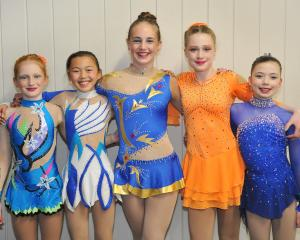 Dunedin skaters ready to perform are (from left) Rebekah Sime, Misaki Joe, Hannah Sime, Katie St...