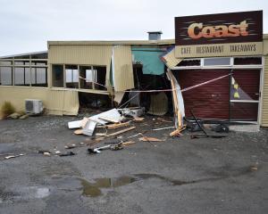 The Coast Cafe on Beach Rd on Saturday after the Friday night crash. Photo Richard Savage