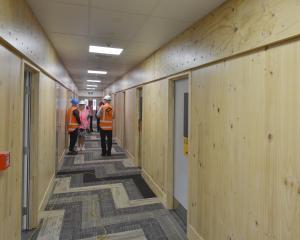 A hallway in the student village complex. Photos: Gerard O'Brien