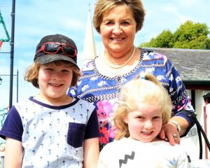 Alison Ludemann with her grandchildren Hadle (8, left)  and Poppy (6) Ludemann,  all of Kakanui