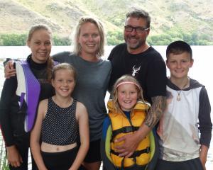 Lily (14, left), Macey (9), Amie, Kaiah (7), Nathan and Jai Rawson (12) at Parsons Rock camping...