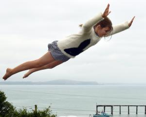 Eve Bretherton (11), of Wanaka, has fun on the Moeraki Village Holiday Park trampoline.