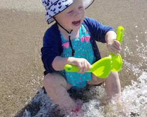 Aubree Watt (1) enjoys the water at Brod Bay, Lake Te Anau, on January 5. Photo: Rachael Watt.