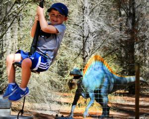 Joshua Jamison (3) rides the flying fox watched by a Jurassic dinosaur sculpture at Highlands...