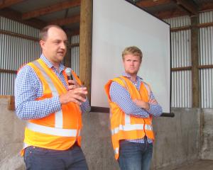 Advocating investment in staff at the Align Farms field day was head of operations Rhys Roberts (left) and Sam Bell, Align Longfield manager. Photos: Maureen Bishop