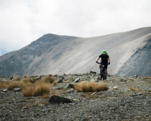 Michael Goldingham, of Oamaru, enjoys a short level section during the climb to the ridge. Photos...