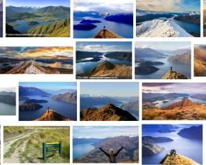 Roys Peak, Wanaka, was climbed by 84,000 people in the 2017-18 year, with photos filling page...