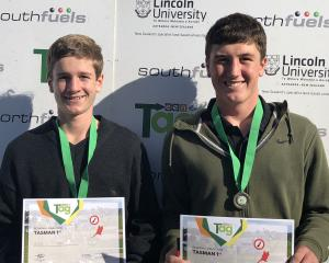 St Bede's College (Christchurch) pupils Nick O'Connor (15, left), of the West Coast, and Angus Grant (15), of Christchurch, were thrilled to win the Tasman region TeenAg competition. Photo: New Zealand Young Farmers