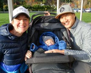 Jane Guy, Wren Guy-Yeo (9 months) and Trent Yeo, all of Queenstown.