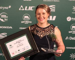 Simone Smail, of Invercargill, relishes the moment as she is announced the New Zealand Dairy Trainee of the Year at Stadium Southland in Invercargill recently. Photo: Nicole Sharp
