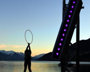 Caroline Jacq, from France, who arrived in Queenstown yesterday and performs  as ''The Hoop...