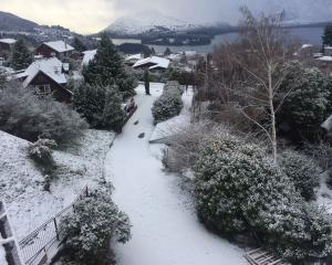 The scope of today's wintry weather is captured in this photo from Fernhill, Queenstown. Photo:...