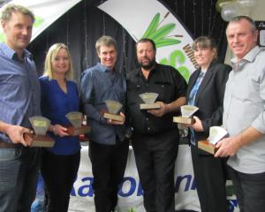 Celebrating their wins at the Central Otago Winter Feed Competition are (from left) Glen Harrex, of St Bathans, Renee Harrex, of St Bathans, Cameron Nicolson, of Poolburn, Michael Fridd, of Ida Valley (on behalf of Claire and the late John Mulholland), Ma