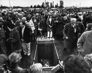 Crowds attend the burial of Norman Kirk in Waimate in September 1974. Crowds attend the burial of Norman Kirk in Waimate in September 1974. Photos: Otago Daily Times