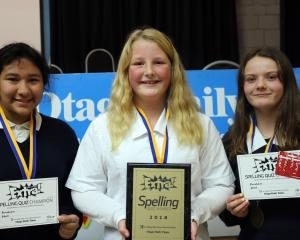 Otago Daily Times Extra! Central Otago Year 9-10 spelling quiz winners (from left) Kaishee Sharma...