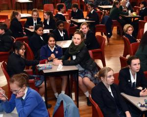 Contestants listen intently to the questions in the Year 9 and 10 category in the Otago Daily...