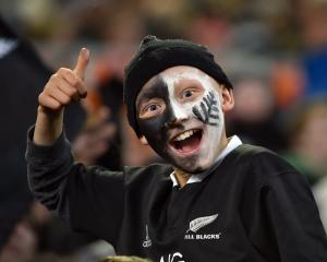 Fans  support  their teams during the third test in Dunedin on Saturday. Photos: Peter McIntosh