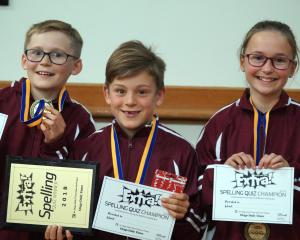 Year 5 and 6 Otago Daily Times Extra! central South Island quiz winners (from left) Luke Winter (11), Jack Houstoun (9) and Mackenzie Walker (11), of Gleniti School, show off their prizes. Photos: Greta Yeoman