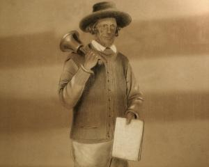 Sandy Low and his bell. Photos: Toitu Otago Settlers Museum
