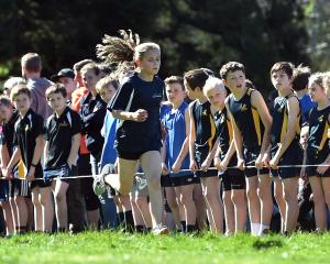 Wanaka Primary School's Cathy David (10) runs during the girls year six race.