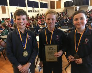 Sacred Heart Timaru pupils (from left) Jed Fenwick, David van der Spuy and Christian McCambridge (all 10) took first place in the Otago Daily Times Extra! Central South Island Year 5-6 Quiz at Timaru Girls' High School last night. Photo: Chris Tobin