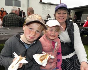 Xavier (7)  and sister Amelia (4), of Queenstown, with nan Barb Crotty, of Temuka, at Saturday's...