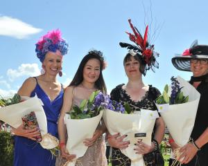 Fashions in the Fields winners Jennie Hasler-Jacobs, of Balclutha (left, best fascinator), Nam Nguyen, of Mosgiel (second place), Lisa Lamb, of Chain Hill (first place) and Louise Dale, of Stirling (third).