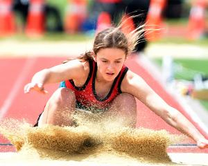 Caroline Richards, of Lincoln High School, in the long jump.
