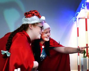 Otago Girls' High School pupils (from left) Bridget Dalley (16) and Maya Threlfall (15) marvel at Pixie Town in the Toitu Otago Settlers' Museum. Photos: Peter McIntosh