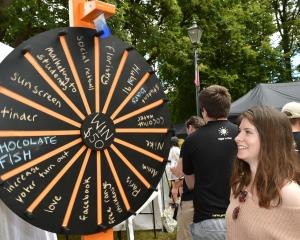 "Health science student Cabrianna Earl (18), of Christchurch, has a crack at the ""ideas wheel''."
