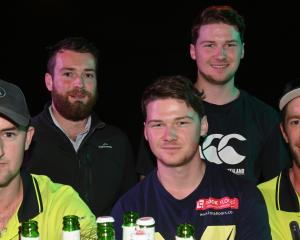 Sam van der Byl, Matthew Hall, Brian Anderton, Matt Anderton and Kris Bennett, all of Dunedin.