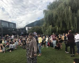 Thousands gather in Queenstown to pay their respects to those affected by the Christchurch terror attack. Photo: Daisy Hudson