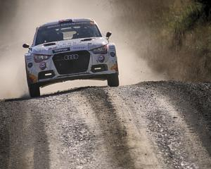 Aucklanders Dylan Turner and Malcolm Read race an Audi S1 AP4.PHOTO: JOHN COSGROVE