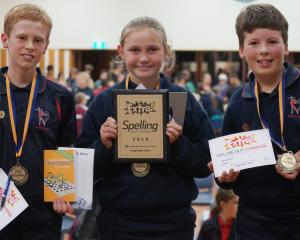 Sacred Heart School pupils (from left) Daniel van De Spuy (11), Maddy Green (10) and Jed Fenwick ...