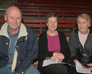 Trevor Miller, of Mosgiel, Joyce Joyce, of Dunedin, and Trevor's wife, Beverley.