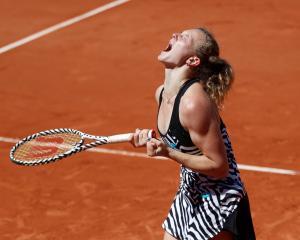 Katerina Siniakova celebrates winning her match against Naomi Osaka. Photo: Reuters