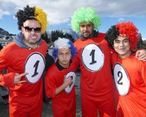 Dodgeball team Heartland Hurricanes: Henrique Amdrozio, Cloyhen Ngayos, Zibby Zane and Bhani...