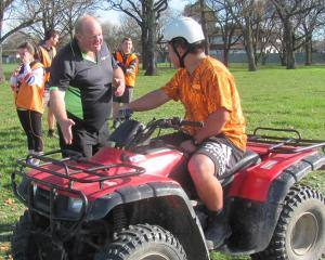 Ashburton College year 11 agriculture pupils Tyler Leonard (left) and Wilson Hii put into practice what they learnt during a motorbike/quad safety training session.