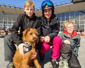 Nic (14), Sarah and Thomas Hinton (11), and Murphy the dog, all of Alexandra.
