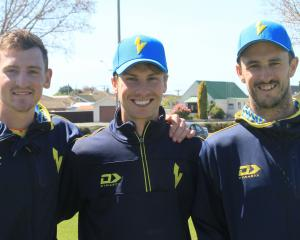 Otago Volts players Nathan Smith, Cam Hawkins, and Hamish Rutherford, all of Dunedin.