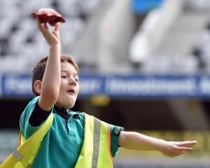 East Taieri School pupil Samuel Lewis (6) takes aim at Percy's Safari Adventure Fun Day at...