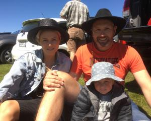 Harriet McDonald, Nico (3) and David Bulling, all of Queenstown.