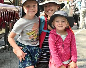 Jack (6), Kate (4) and their mother Karen Lusk, of Dunedin.