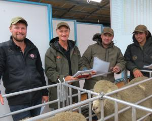 At Earnscleugh Station for its commercial ram sale last week are Lake Hawea Station crew (from left) Jack Mansfield, owner Geoff Ross, David O'Sullivan and Ryan Nelson. Photos: Yvonne O'Hara