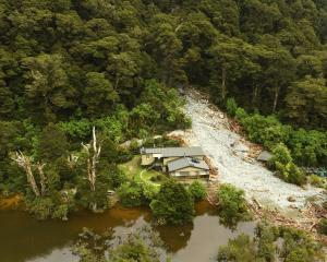 About 30 people were in Howden Hut on the Routeburn Track when a landslip crashed into it at 1...