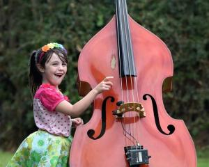 Luka Lipsham (5), of Timaru, has a go at playing the double bass during the Waitati Music...